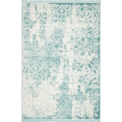 Jacobson Floral Blue Area Rug Rug Size: 4 x 6