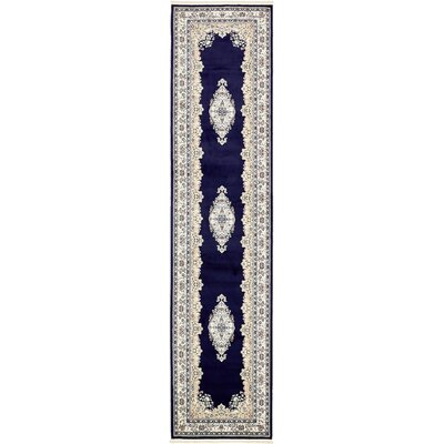 Courtright Navy Blue/Ivory Area Rug Rug Size: Runner 3' x 13'