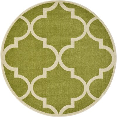 Emjay Green Area Rug Rug Size: Round 8