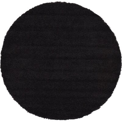 Lilah Black Area Rug Rug Size: Round 6