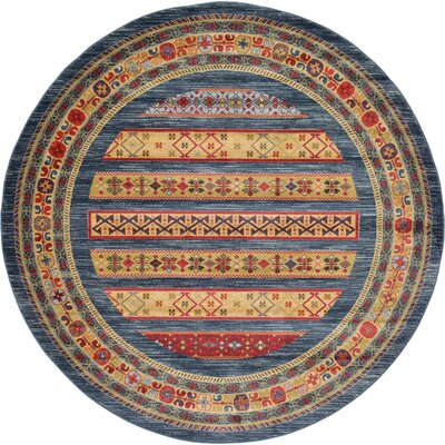 One-of-a-Kind Foret Noire Machine Woven Polypropylene Blue Area Rug Rug Size: Round 33