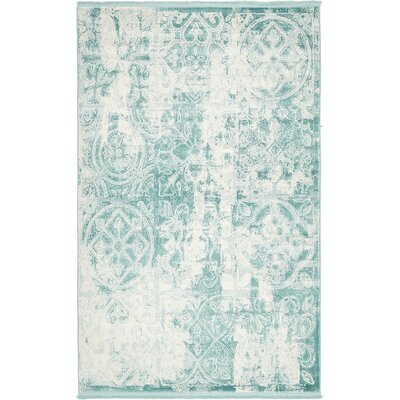 Jacobson Floral Blue Area Rug Rug Size: 5 x 8