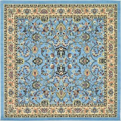 Essehoul Light Blue Oriental Area Rug Rug Size: Square 8