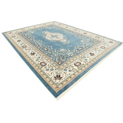 Courtright Blue/Tan Area Rug Rug Size: Rectangle 8 x 10
