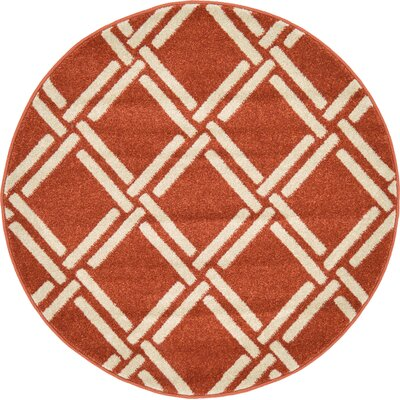 Seagate Rust Red Area Rug Rug Size: Round 6