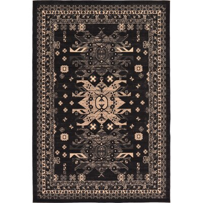 Valley Black Area Rug Rug Size: 6 x 9