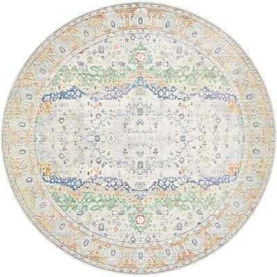 Carrico Light Gray Area Rug Rug Size: Round 8