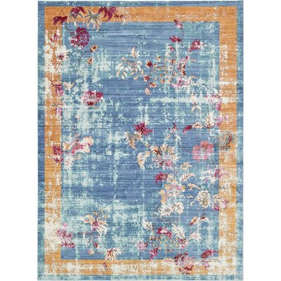 Center Blue Area Rug Rug Size: Rectangle 9 x 12