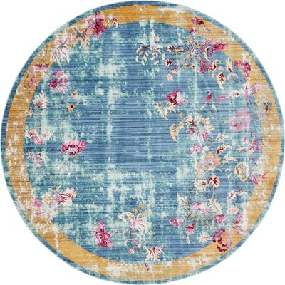 Center Blue Area Rug Rug Size: Round 6