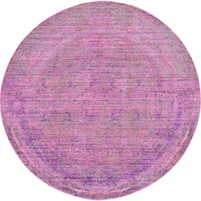 Bradford Purple Area Rug Rug Size: Round 6