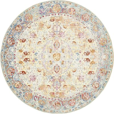 Carrico Beige Area Rug Rug Size: Round 8