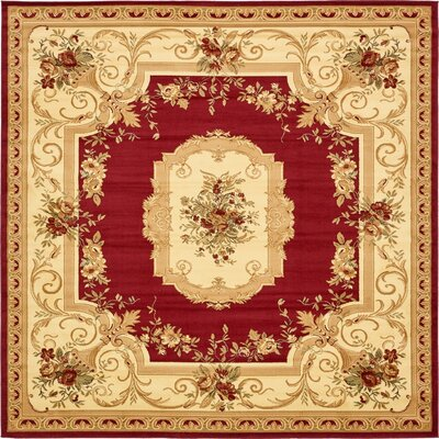 Sheffield Beige / Red Area Rug Rug Size: Square 10