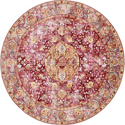 Carrico Oriental Red Area Rug Rug Size: Round 8