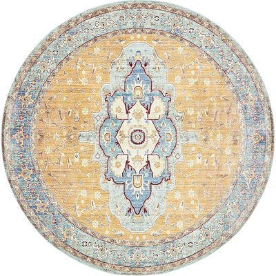 Carrico Light Blue Area Rug Rug Size: Round 8