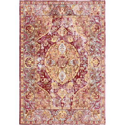 Carrico Oriental Red Area Rug Rug Size: 6 x 9