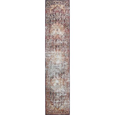 Koury Beige/Red Area Rug Rug Size: Runner 27 x 122