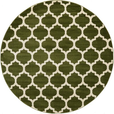 Moore Green/Beige Area Rug Rug Size: Round 6