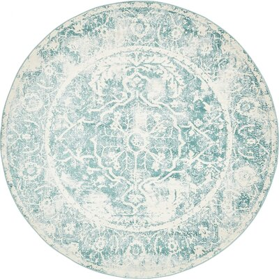 Sherrill Blue Floral Area Rug Rug Size: Round 8