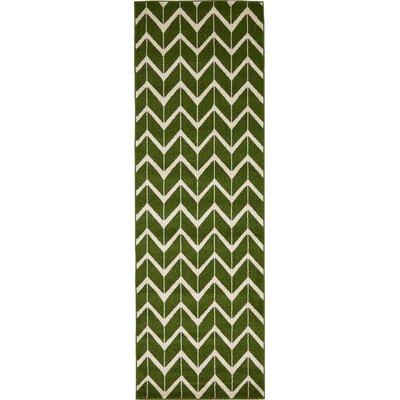 Hannigan Green/Beige Area Rug Rug Size: Runner 27 x 8