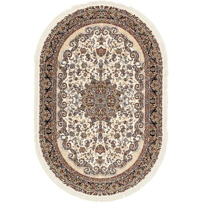 Britain Cream Area Rug Rug Size: Oval 27 x 5