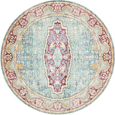 Carrico Navy Blue Area Rug Rug Size: Round 8