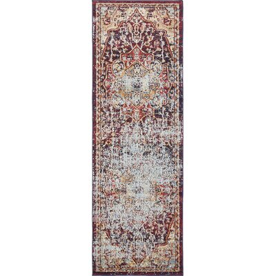 Koury Beige/Red Area Rug Rug Size: Runner 22 x 67