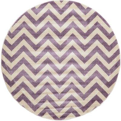 Erna Purple Area Rug Rug Size: Round 6'