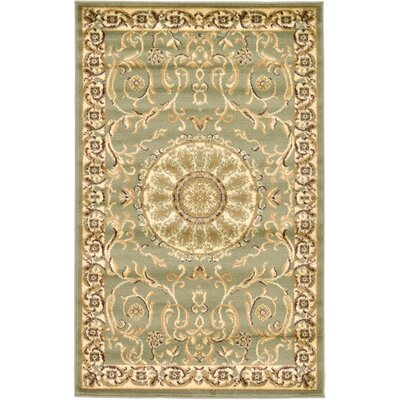 Oskar Light Green Area Rug Rug Size: 33 x 53