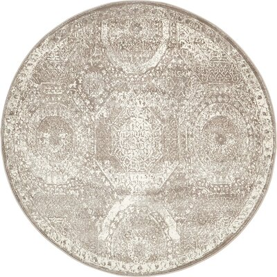 Sherrill Gray Area Rug Rug Size: Round 8