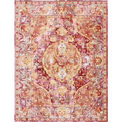 Carrico Oriental Red Area Rug Rug Size: Rectangle 9 x 12