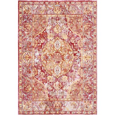 Carrico Oriental Red Area Rug Rug Size: 4 x 6