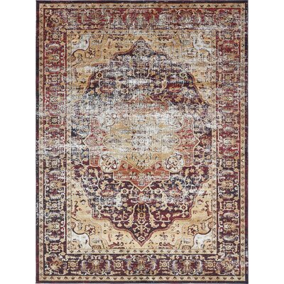 Koury Beige/Red Area Rug Rug Size: Rectangle 33 x 53