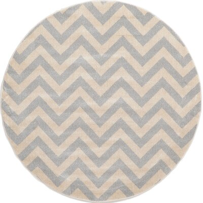 Wistow Gray/Beige Area Rug Rug Size: Round 6