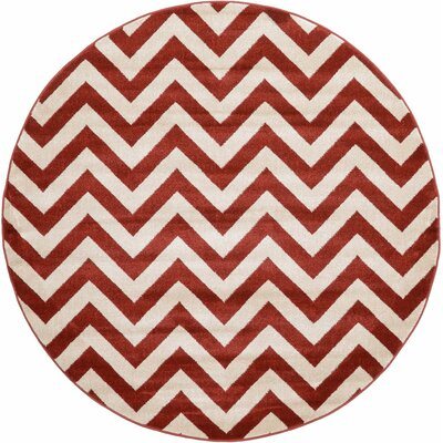 Erik Rust Red Area Rug Rug Size: Round 6