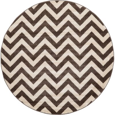 Berin Brown Area Rug Rug Size: Round 6