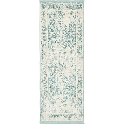 Sherrill Blue Floral Area Rug Rug Size: Runner 27 x 10