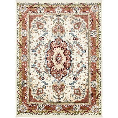 Courtright Cream/Burgundy Area Rug Rug Size: Rectangle 5 x 8