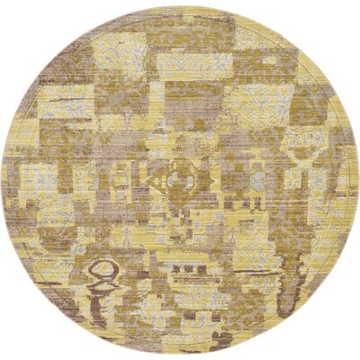 Rune Light Brown Area Rug Rug Size: Round 6