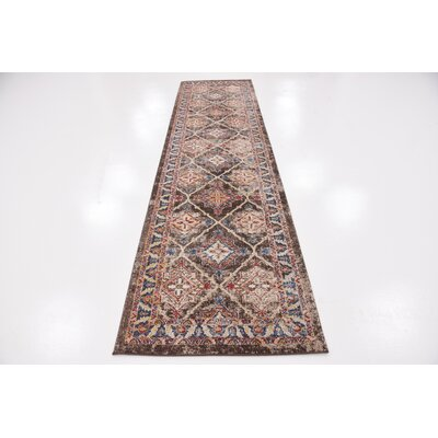 Nathanson Dark Brown Area Rug Rug Size: Runner 2 x 6
