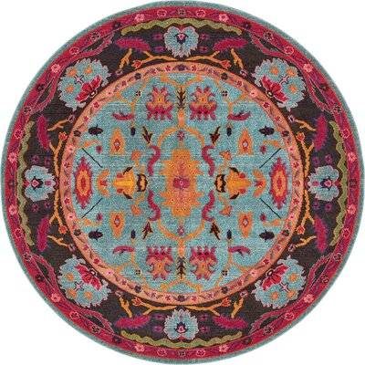 Charleena Blue/Orange Area Rug Rug Size: Round 6