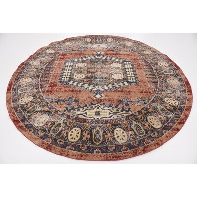 Nathanson Terracotta Area Rug Rug Size: Round 8