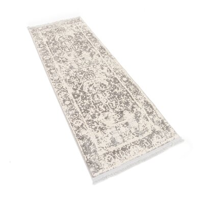 Sherrill Gray Floral Area Rug Rug Size: Runner 27 x 10