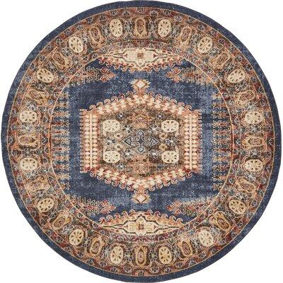 Nathanson Dark Blue Area Rug Rug Size: Round 8 x 8