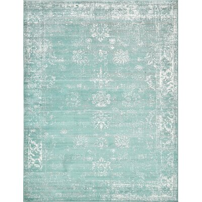 Brandt Turquoise / White Area Rug Rug Size: Rectangle 9 x 12