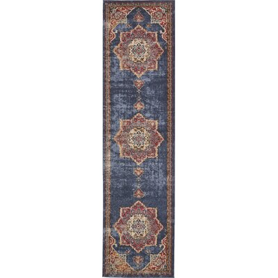 Dulin Blue/Red Area Rug Rug Size: Runner 27 x 10
