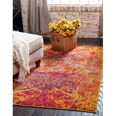 Fujii Red Area Rug Rug Size: Rectangle 7 x 10