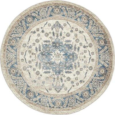Jaiden Cream/Blue Area Rug Rug Size: Round 5