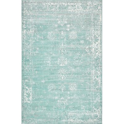 Brandt Turquoise / White Area Rug Rug Size: Rectangle 5 x 8