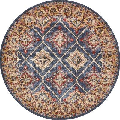 Nathanson Blue Area Rug Rug Size: Round 8 x 8