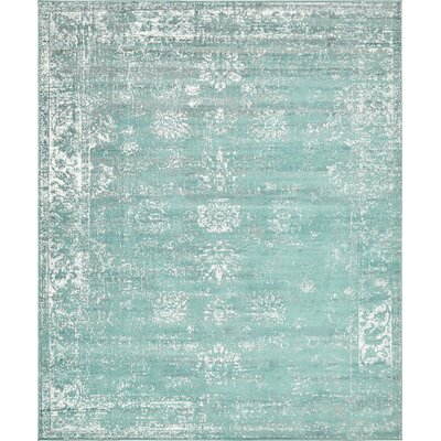 Brandt Turquoise / White Area Rug Rug Size: Rectangle 8 x 10